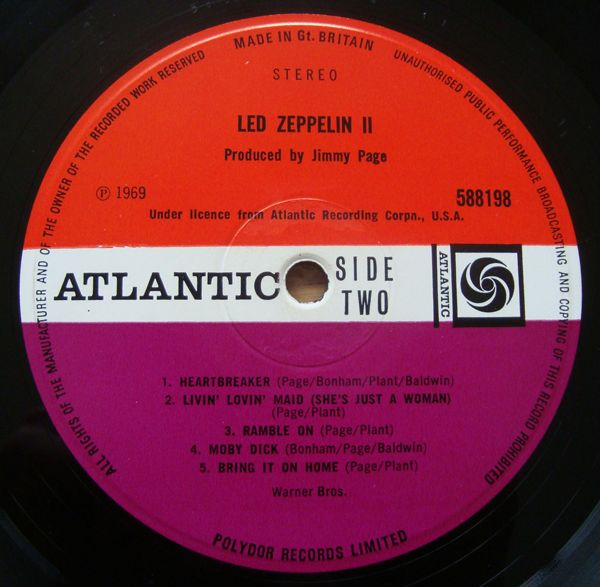 LED ZEPPELIN Led Zeppelin II 2 UK Plum Atlantic 1969 LP