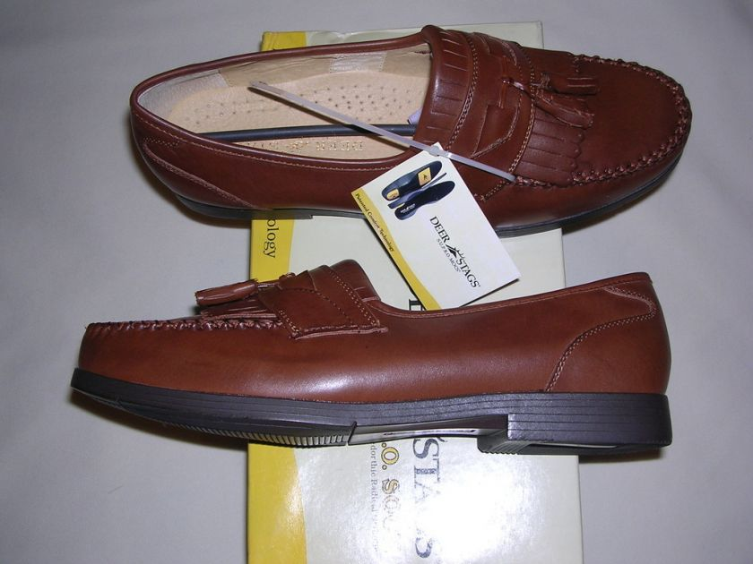Mens Deer Stag Tan Leather Tassel Loafers New in Box